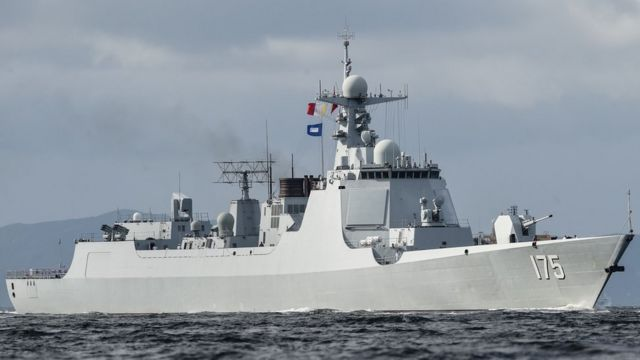 Chinese Type 052D destroyer off Hong Kong, 7 Jul 17