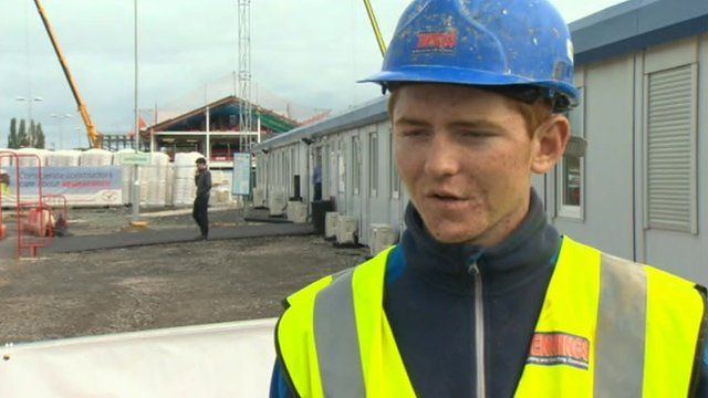 Construction student at Wrexham prison site