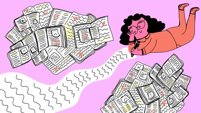 Ilustración de una mujer escribiendo