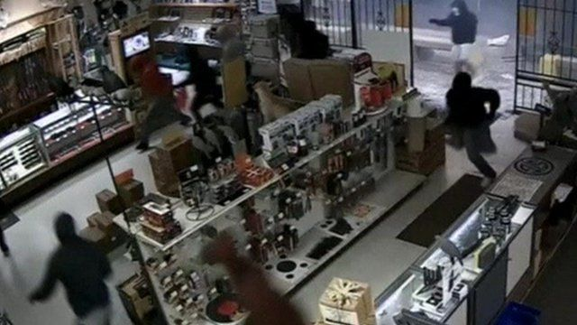 Still from CCTV footage of smash-and-grab in Houston, Texas, released on 3 March 2015