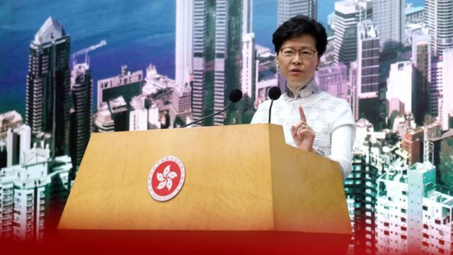 JUNE 15: Chief Executive of Hong Kong, Carrie Lam Cheng Yuet-ngor, attends a press conference at the Central Government's Offices in Tamar,