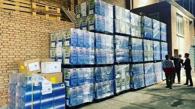 محموله کمکهای پزشکی کره جنوبی که اواسط فروردین به ایران ارسال شد