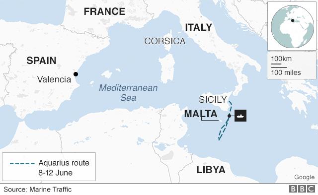 Map showing Aquarius position in Mediterranean