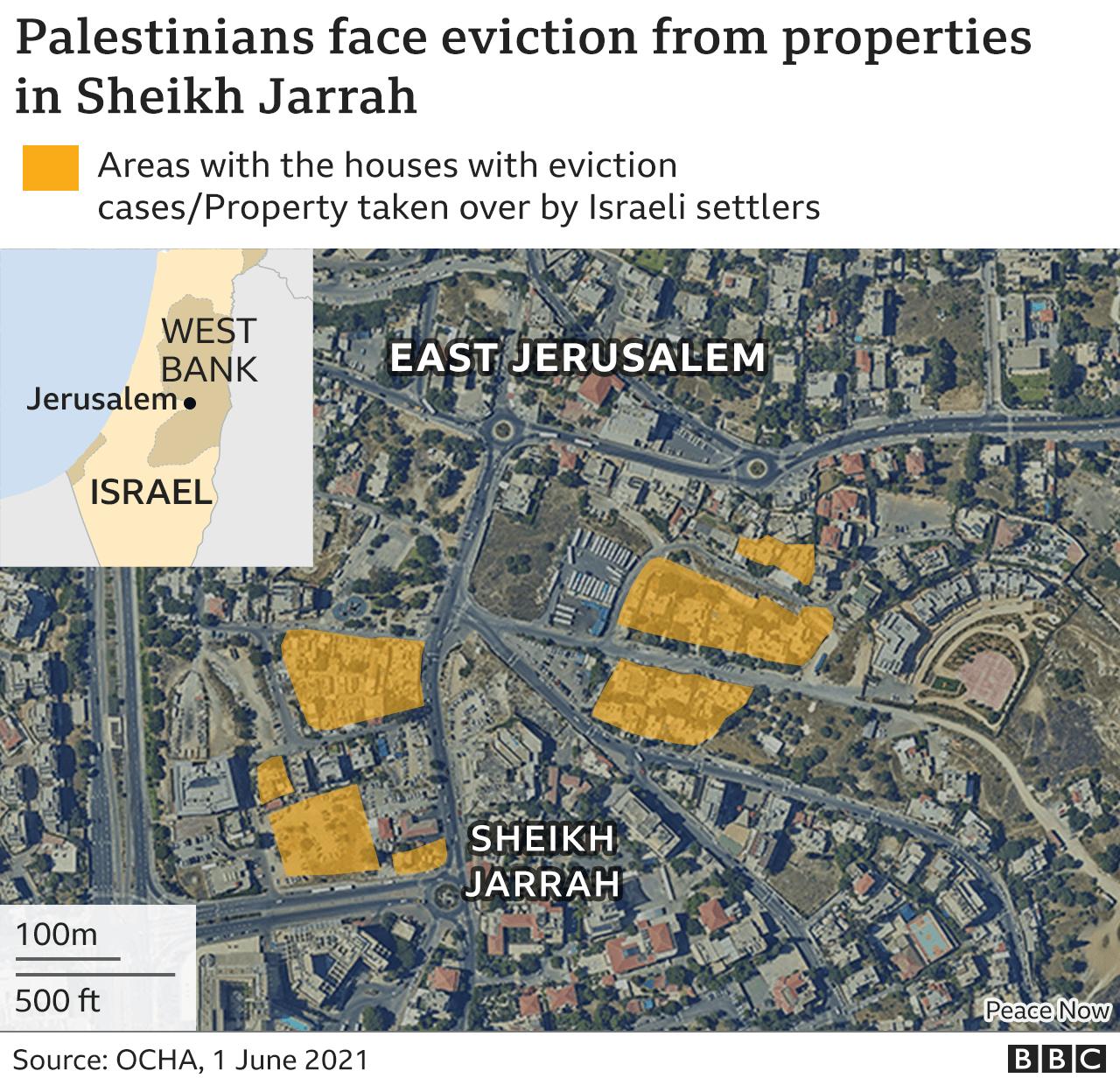 Satellite map of Sheikh Jarrah in East Jerusalem indicates properties at risk of eviction.