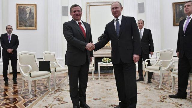 Rey Abdalá de Jordania con Vladimir Putin en Moscú