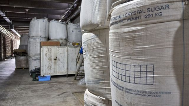 Two large sacks of sugar in the shed