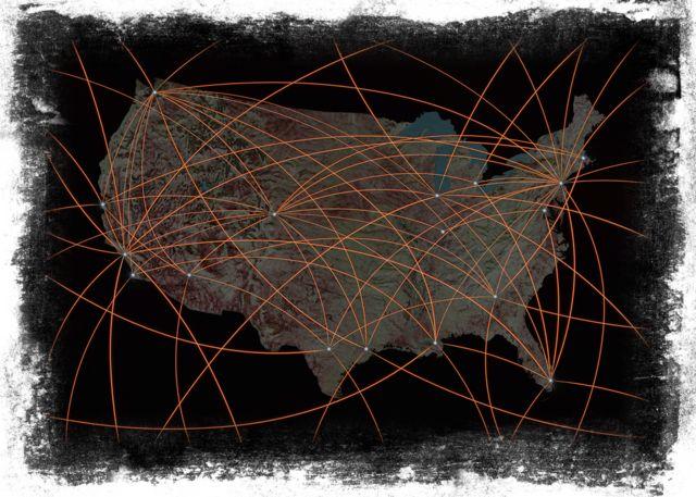 Gráfico mostra conexões no mapa dos EUA