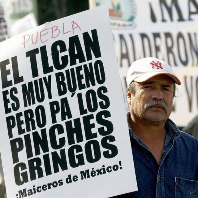 Protesta contra TLC en México.