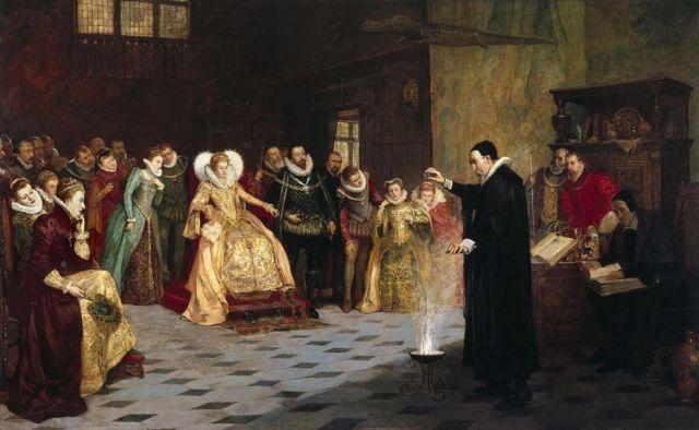 ภาพวาดจากยุควิกตอเรียน แสดงเหตุการณ์ขณะจอห์น ดี ทำการทดลองต่อหน้าพระพักตร์ของราชินีเอลิซาเบธที่ 1