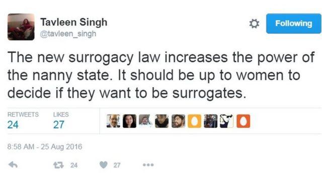 Tuíte sobre projeto de lei indiano