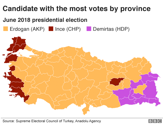 A map of Turkey showing where each candidate received the most presidential votes - all of Turkey is added in Mr Erdogan's colour except for the far east (for Demirtas) and far west (for Ince).