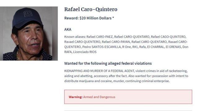 Imagen de Caro Quintero en la lista de fugitivos más buscados por la DEA