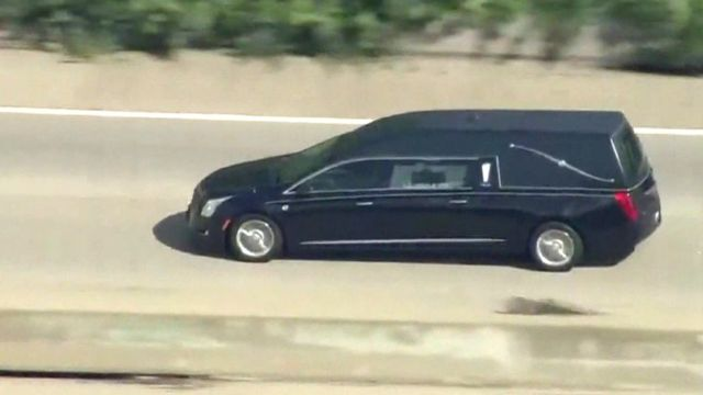 Car with coffin of Muhammad Ali