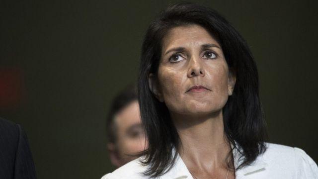 核兵器禁止条約の交渉には多くの国が欠席するとニッキー・ヘイリー米国連大使(27日、国連本部)