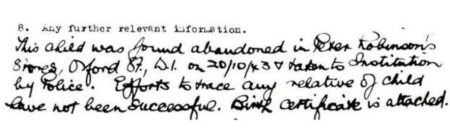 입양 당시 정보가 기록된 문서