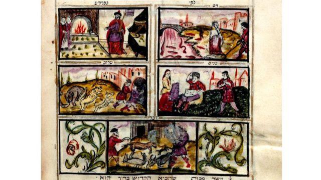 Историческая рукопись с изображением пяти из казней египетских