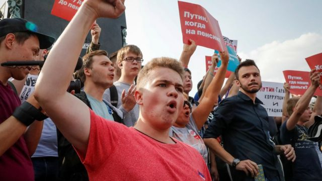 Protesters shout during a rally against planned increases to the nationwide pension age in Moscow