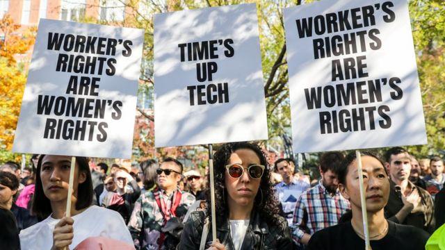 Concentración de empleadas ante las oficinas de Google en Nueva York en 2018
