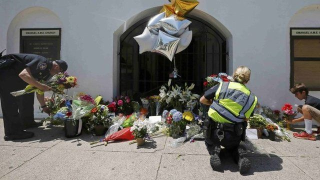 Flowers at scene of church attack in Charleston