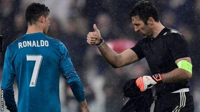 Gianluigi Buffon and Cristiano Ronaldo