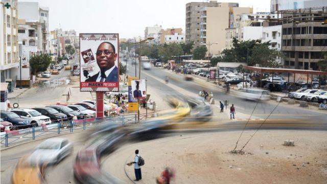 Une pancarte de Macky Sall, président sortant et candidat pour un 2ème mandat à la présidentielle