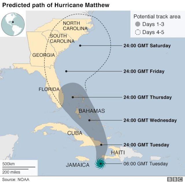 La trajectoire de l'ouragan Matthew