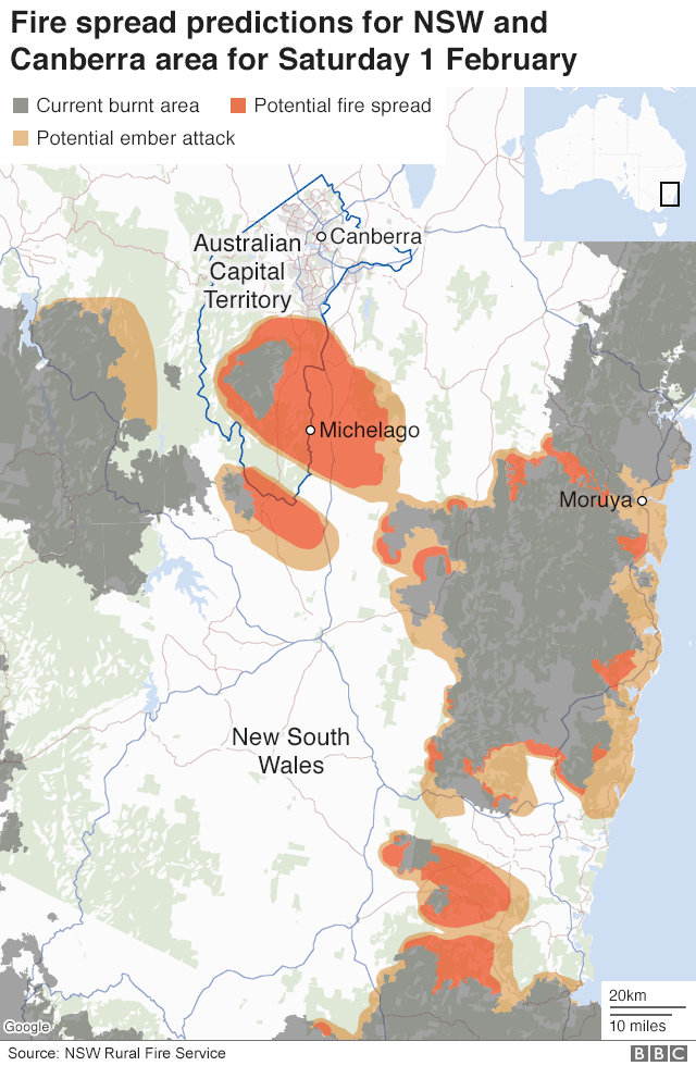 Map of predicted fire around Canberra for 1 Feb