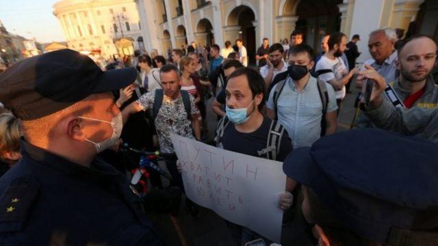 Una protesta a favor de Navalny en San Petesburgo