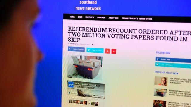 เว็บไซต์ข่าวปลอมในช่วงประชามติในอังกฤษ