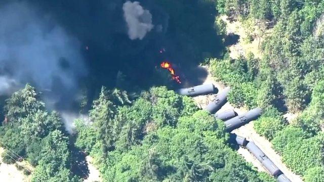 Oregon train fire