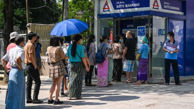 People are finding it difficult to withdraw money since the coup.