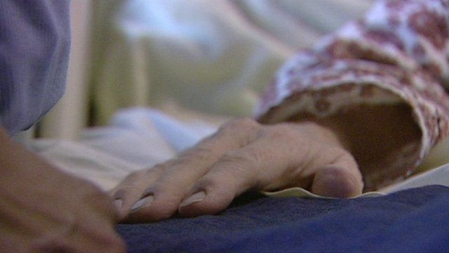 Close up of an elderly patient's hand