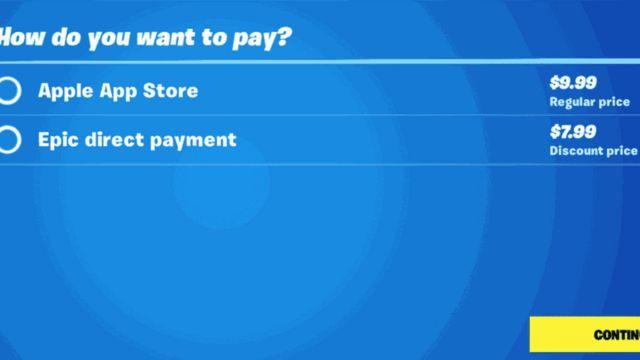 La opicón de pago de Fortnite