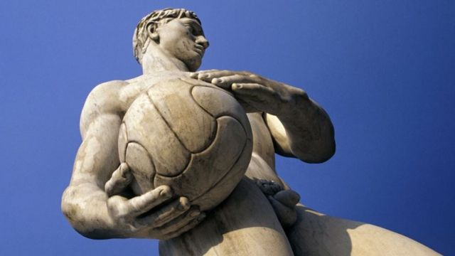 Football Player Statue in Rome, Italy