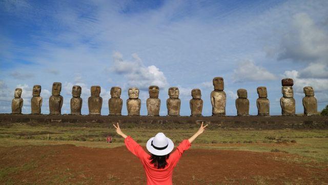 Turista frente a estatuas de moai.