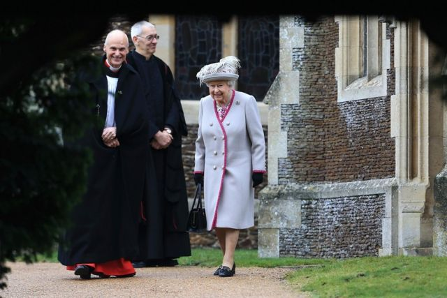 Queen Elizabeth II leaves after attending Christmas Day Church service at Church of St Mary Magdalene on the Sandringham estate on December 25, 2018 i