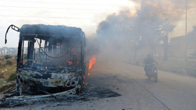 Britaniyada fəalliyyət göstərən Suriya İnsan Haqları Müşahidə qrupu 6 avtobusun yararsız hala salındığını bildirib