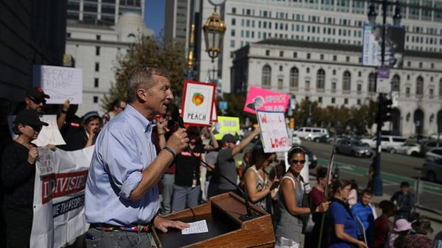 Tom Steyer dey dey address tori people for San Francisco City Hall