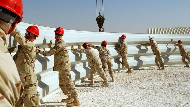 Construcción de las instalaciones estadounidenses en Al Udeid