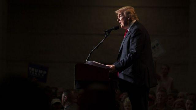Le candidat républicain Donald Trump lors d'un rassemblement à Green Bay, Wisconsin.