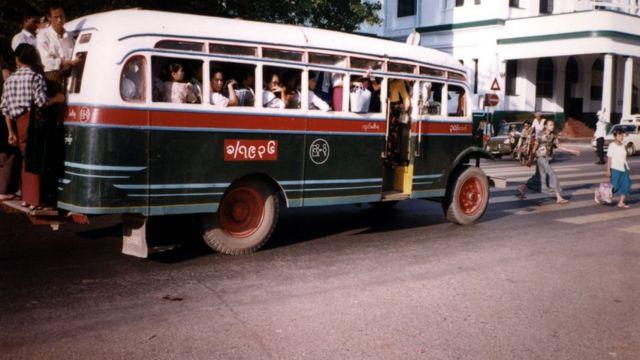 Bus in Rangoon Yangon Burma Myanmar full old