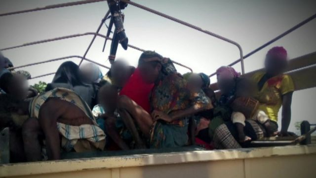 Still of rescued women and children