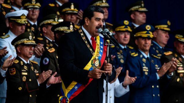 Maduro, presidente da Venezuela, em discurso durante ato militar