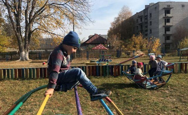 Children at Narodichi kindergarten in the Chernobyl exclusion zone