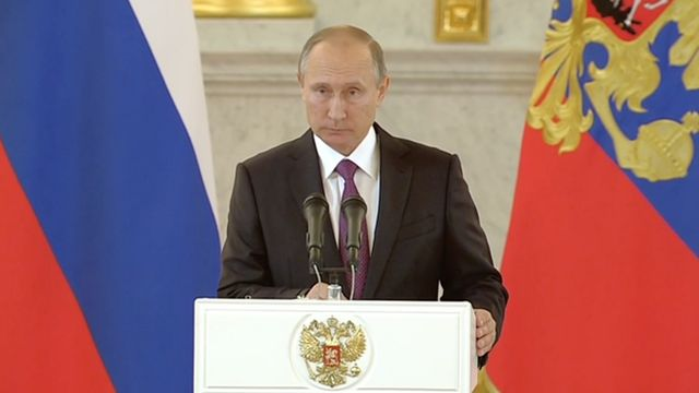 Still image shows Russian President Vladimir Putin.
