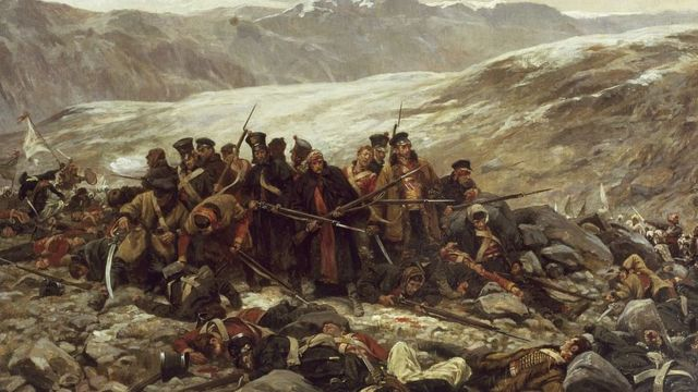 Unidad militar inglesa siendo atacada por insurgentes cerca de la ciudad afgana de Gandamak. Primera Guerra Anglo-Afgana.