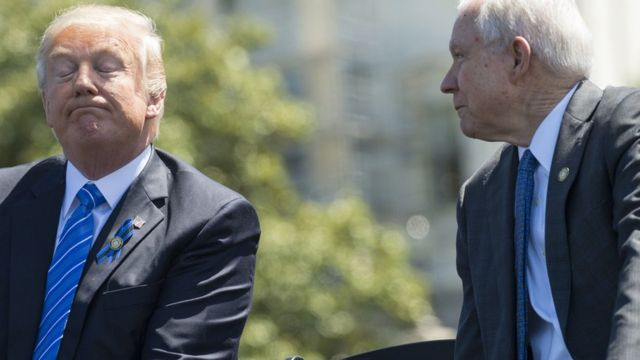 President Donald Trump with Attorney General Jeff Sessions (R) in Washington on 15 May 2017