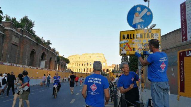 Roma'daki gönüllüler