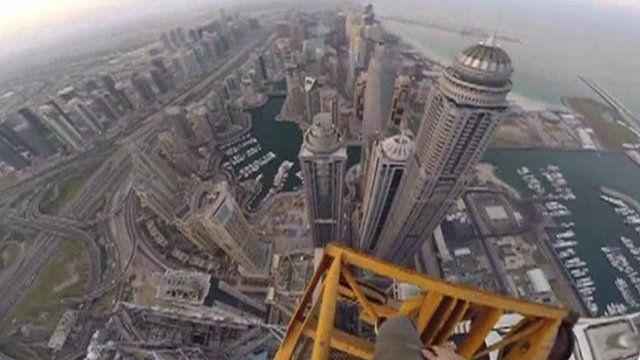 James Kingston POV footage of Dubai skyscraper climb