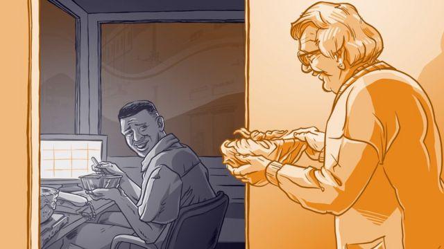 Ilustração mostra idosa entregando marmita para porteiro, sentado em seu posto de trabalho